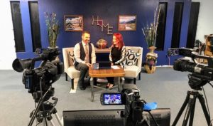DJ Trivia Nevada owner Vickiee Musni being interviewed by Good Day Carson host Ken Farley