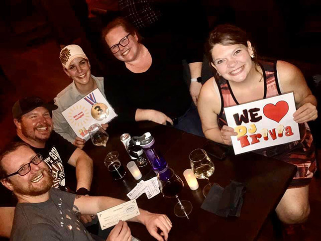Reno speakeasy trivia team showing their love for DJ Trivia