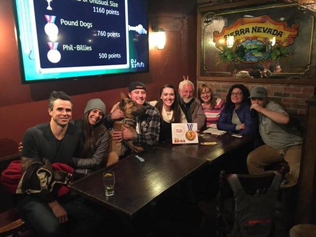 Sierra Tap House trivia team Phil Billies celebrating a good night
