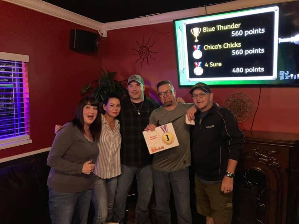 One of the winning teams for Trivia at Chica's Bar