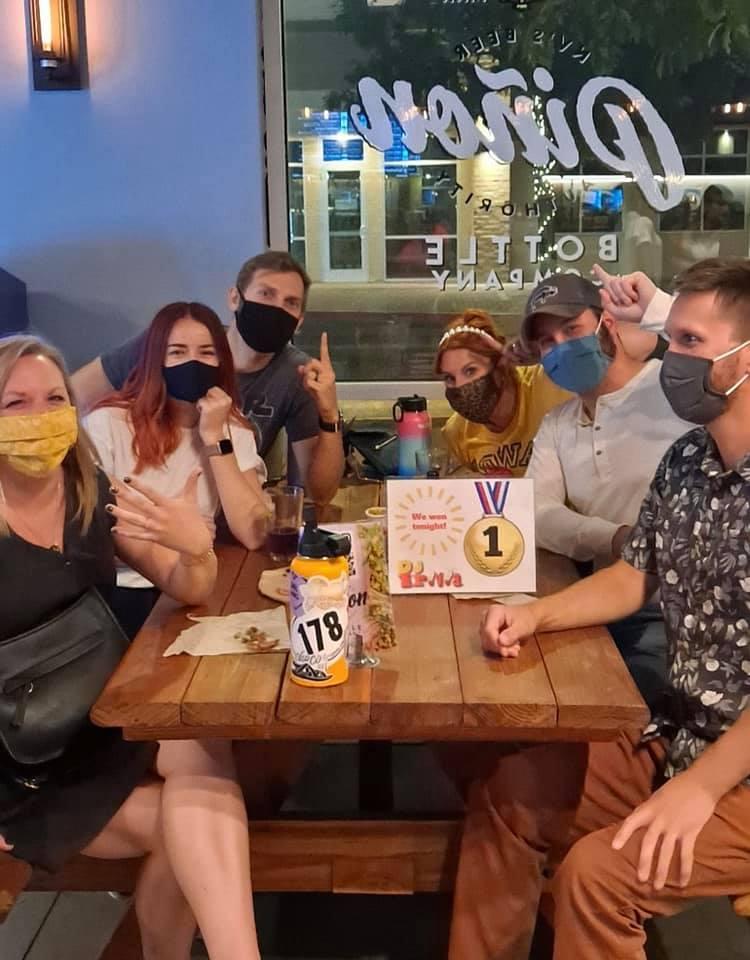 Team at Piñon Bottle Sparks wearing masks