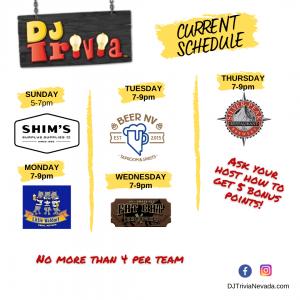 Current DJ Trivia Nevada Schedule